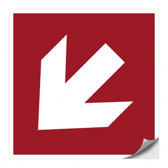 Richtungspfeil für Brandschutzzeichen (links abwärts)