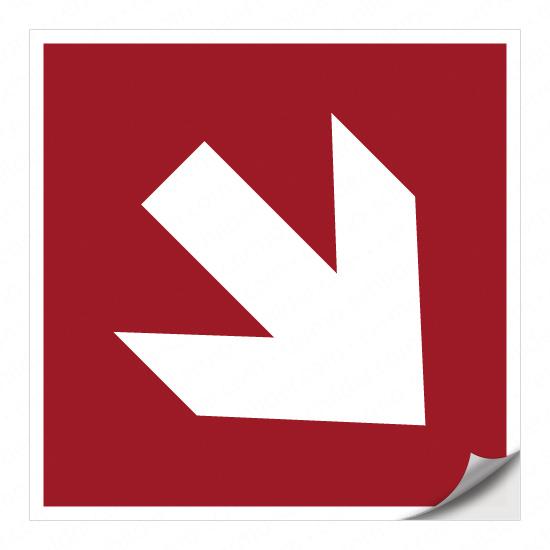 Richtungspfeil für Brandschutzzeichen (rechts abwärts)