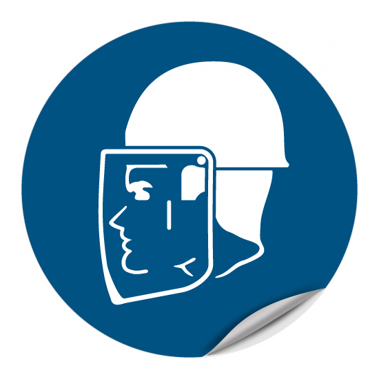 Helm- und Gesichtsschutz benutzen