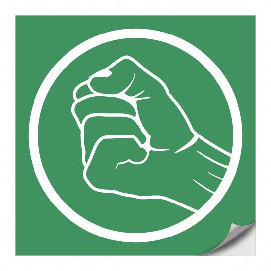 Grüne Faust (Etikett für Fluchttürsicherung)