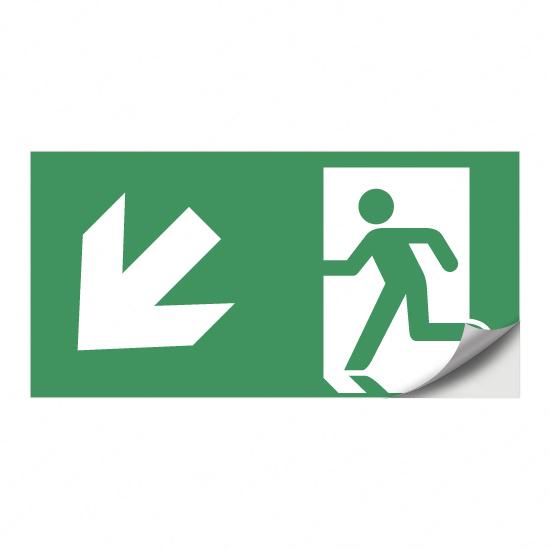Rettungsweg, Notausgang (nach links) abwärts