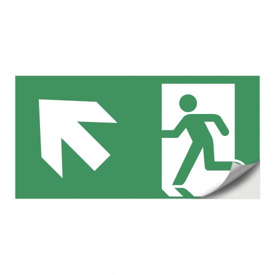 Rettungsweg, Notausgang (nach links) aufwärts