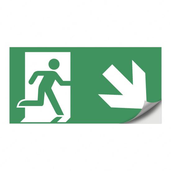 Rettungsweg, Notausgang (nach rechts) abwärts