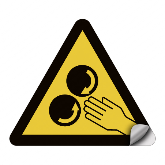 Warnung vor Quetschgefahr an den rotierenden Walzen