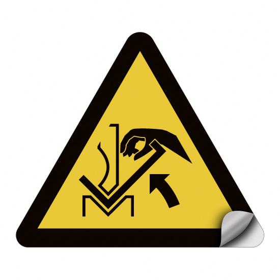 Warnung vor Quetschgefahr der Hand zwischen Presse und Werkstück W031