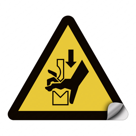 Warnung vor Quetschgefahr der Hand zwischen Werkzeugen einer Presse W030