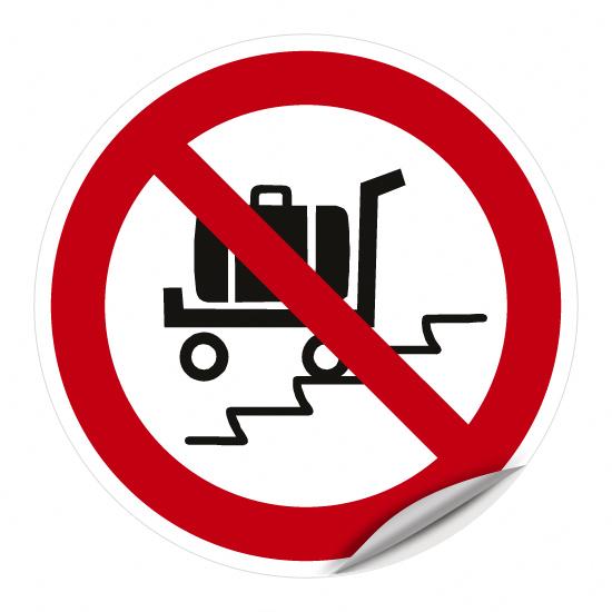 Benutzen der Rolltreppe mit Last-/Kofferwagen verboten