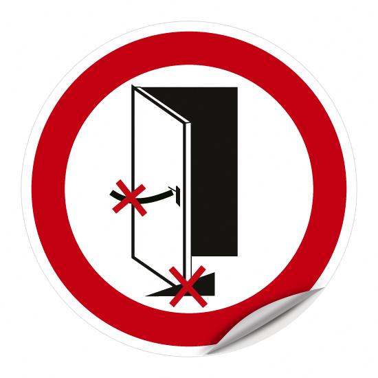 Brandschutztür geschlossen halten, Verkeilen oder Feststellen verboten