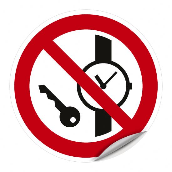 Mitführen von Metallteilen oder Uhren verboten P008