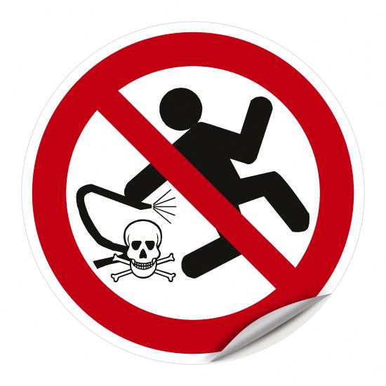 Säubern mit Druckluft verboten