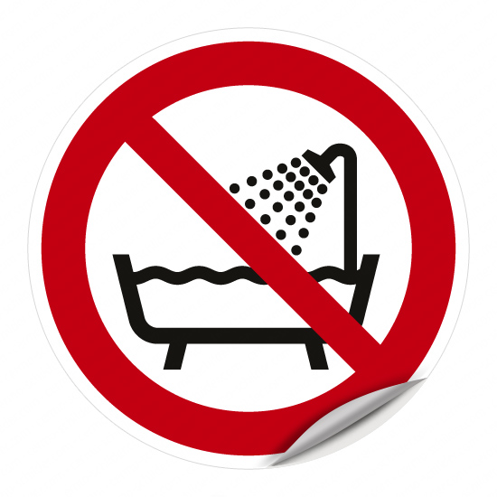 Verbot, dieses Gerät in der Badewanne, Dusche oder über mit Wasser gefülltem Waschbecken zu benutzen