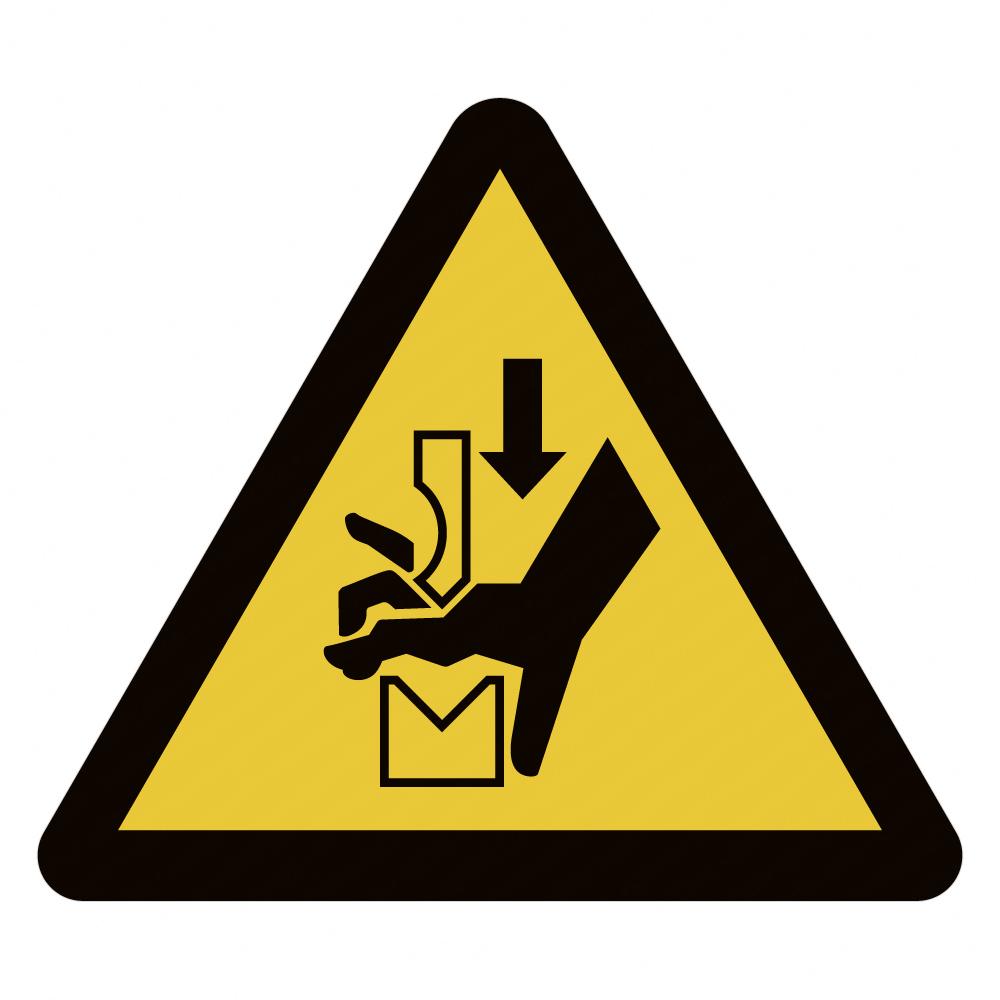 W030 Warnung vor Quetschgefahr der Hand zwischen den Werkzeugen einer Presse